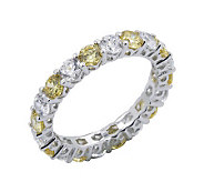 Diamonique & Canary Eternity Band Ring, Platinum Clad - J302421