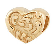Prerogatives 14K Gold-Plated Sterling Scroll Heart Bead - J302721