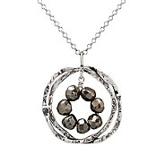 Or Paz Sterling Double Circle Pyrite Pendant with Chain - J303921