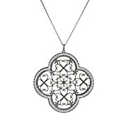 Vicenza Silver Sterling Pave Glitter Pendant with 18 Chain - J317421