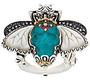 Barbara Bixby Sterling & 18K Carved Turq. Doublet Skull Bee Ring - J318221