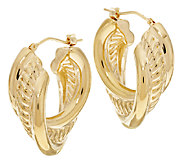 Oro Nuovo Polished & Rope Design Hoop Earrings, 14K - J319621