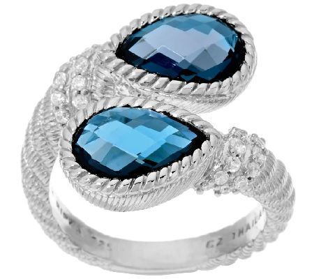 Judith Ripka Sterling 3.90 cttw London Blue Topaz Ring - J320721