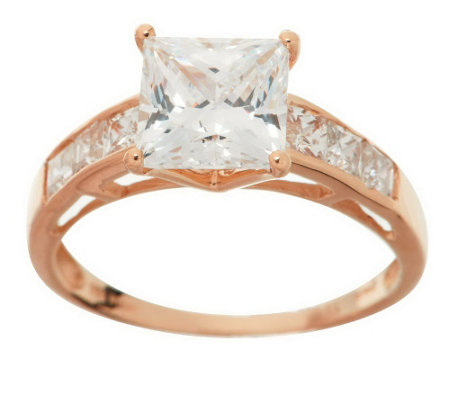quot as is quot diamonique 2 35 ct tw princess cut ring 14k gold