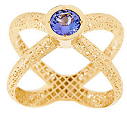 14K Gold Tanzanite Textured X-Ring - J321321