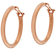 Bronze 1-1/2 Round Omega Back Hoop Earrings by Bronzo Italia - J321421