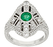 Judith Ripka Sterling Gemstone & Diamonique Ring - J322521