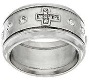 Stainless Steel Crystal Cross Motif Ring - J322721