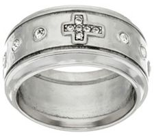 Stainless Steel Crystal Cross Motif Ring