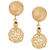 EternaGold Polished Open Work Bead Dangle Earrings 14K Gold - J323021