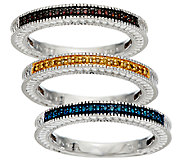 Set of 3 Diamond Stack Rings, Sterling 1/4 cttw, by Affinity - J326521