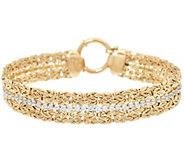 14K Gold 7-1/4 Double Byzantine and Crystal Bracelet, 7.8g - J328421
