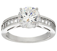 Diamonique Solitaire and Baguette Ring, Platinum Clad - J329221