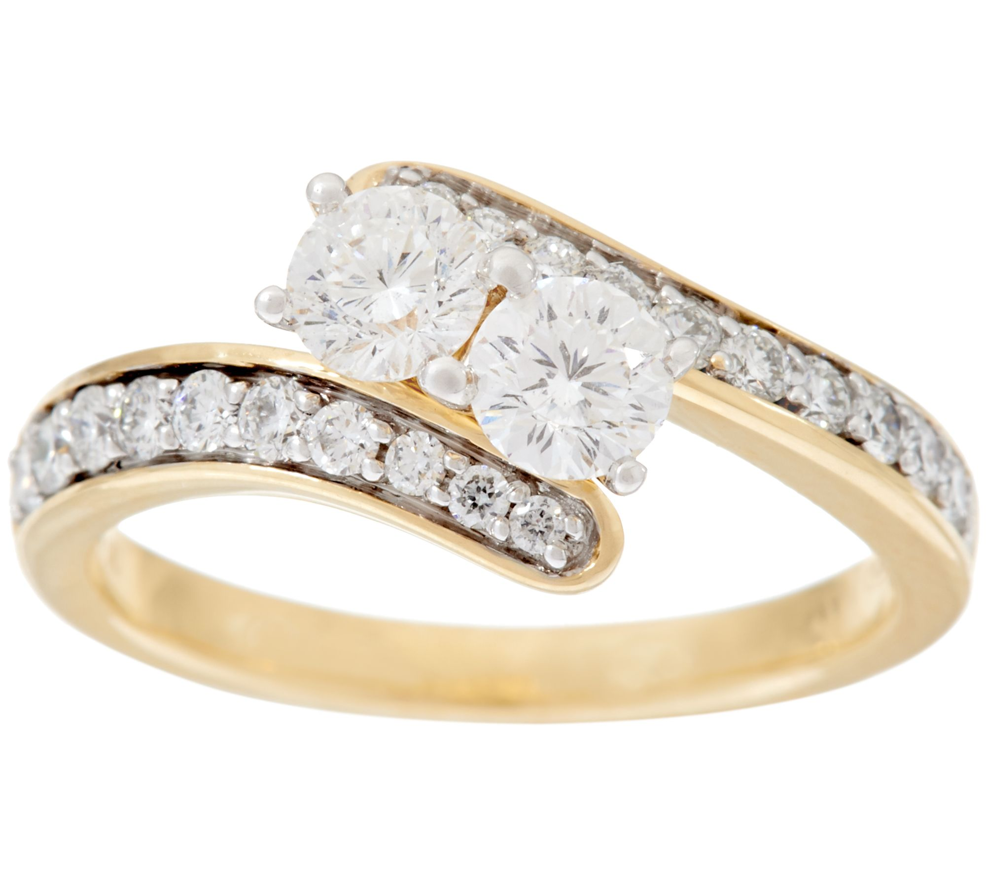 98 facet two stone diamond ring cttw 14k by