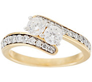 98 Facet Two Stone Diamond Ring, 1.00 cttw, 14K, by Affinity - J329521