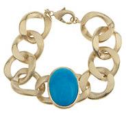 As Is Rivka Friedman Bold Curb Link Gemstone Bracelet - J330121
