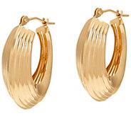 As Is 14K Gold Ribbed Polished Oval Hoop Earrings - J330721
