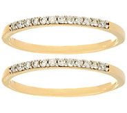 Set of 2 White Diamond Band Rings 14K, 1/5 cttw, by Affinity - J333421