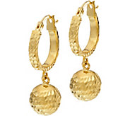 14K Gold Diamond Cut Bead Dangle Earrings with Gift Box - J333621