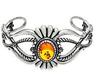 Sterling Silver Amber Cuff Bracelet by American West - J334021