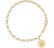 Vicenza Gold Rolo Link Saint Charm Bracelet, 14K Gold, 3.0g - J334721