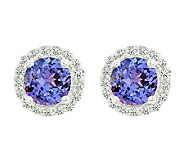 Premier Gemstone & 1/8cttw Halo Earrings, 14K White Gold - J336121