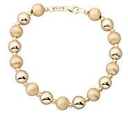 EternaGold 8 Polished & Florentine Bead Bracelet 14K, Gold - J337421