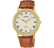 Seiko Mens Goldtone Brown Leather Strap Watch - J337521