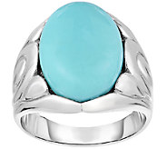 Sterling Silver Turquoise Flower Design Ring - J341321