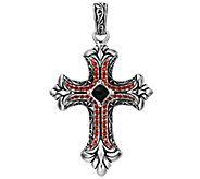 Scott Kay Sterling Onyx and Garnet Cross Enhancer - J341821