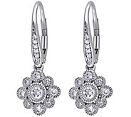 Floral Diamond Earrings, 14K White Gold, 1/2 cttw, by Affinit - J344021