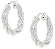 Italian Silver Sterling Satin & Polished Twist Design Hoop Earrings - J345921