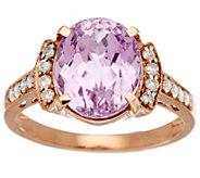 As Is Premier 3.40cts Kunzite & 1/5 ct tw Diamond Ring 14K Gold - J346521