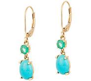 Sleeping Beauty Turquoise & Emerald Drop Earrings 14K Gold - J347621