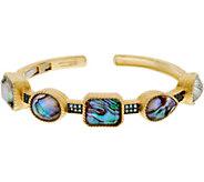 Judith Ripka 14K Clad Abalone Doublet & Blue Topaz Cuff Bracelet - J348121