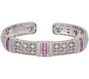 Judith Ripla Sterling Silver Pink Sapphire Estate Cuff Bracelet - J348221