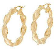 As Is Arte d Oro 1-1/2 Satin Finish Twist Hoop Earrings 18K - J349021