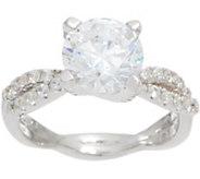 Diamonique 2.50 ct Twisted Shank Bridal Ring, Sterling - J349921