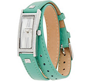 Judith Ripka Stainless Steel Silvertone Leather Wrap Westport Watch - J350121