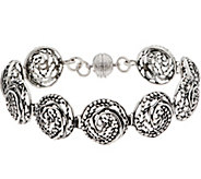 Sterling Silver 8 Swirl Circle Link Bracelet by Or Paz 26.0g - J350321