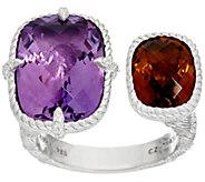 As Is Judith Ripka Sterling 12.0 cttw Gemstone Cuff Ring - J352121