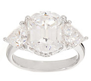 Diamonique Fancy Cut 3 Stone Ring, Platinum Clad - J353421