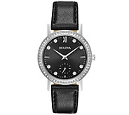 Bulova Womens Crystal Watch with Black LeatherStrap - J375121