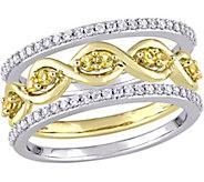 0.25 cttw Yellow Sapphire & 1/4 cttw Diamond Ring Set, 14K - J376121