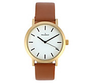 Peugeot Mens Stainless Steel Round Case & Leather Strap Watch - J383921
