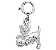 Sterling Cat with Ball of Yarn Charm - J110122