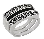 Suspicion Sterling Marcasite & Onyx Three Stackable Ring Set - J112422