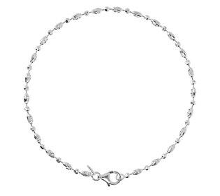 "UltraFine Silver 9"" Diamond-Cut Bead Anklet"