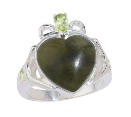 Connemara Marble White Topaz or Peridot Claddagh Ring