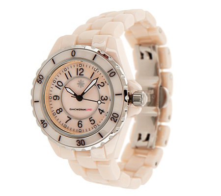 Isaac Mizrahi Live! Ceramic Watch with Mother-of-Pearl Dial